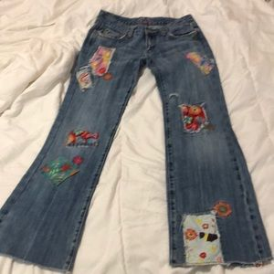 Miss Me patch flare jeans distressed